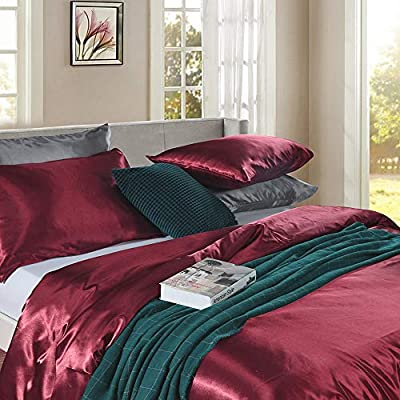 Burgundy Red Bedding Silk Like Satin Duvet Cover Set Wine Red Silky Microfiber Bedding Sets Twin (66x90) 1 Duvet Cover 1 Pillowcase (Burgundy Red, Twin): Home & Kitchen
