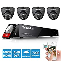 Tekvision 8 CH 720P H.264 AHD Real Time Surveillance DVR Kit, 4 Pack 24 LED Day/ Night Vision IR- Cut IP66 Waterproof Full Metal Dome Camera, 1TB HDD Hard Drive pre-installed