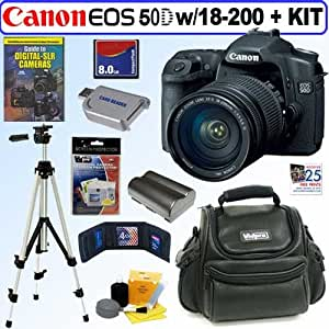 Canon EOS-50D 15.1MP Digital SLR Camera With EF-S 18-200MM IS Zoom Lens + 8GB Deluxe Accessory Kit