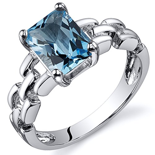 Swiss Blue Topaz Ring Sterling Silver Rhodium Nickel Finish Chainlink Style 1.75 Carats Size 7
