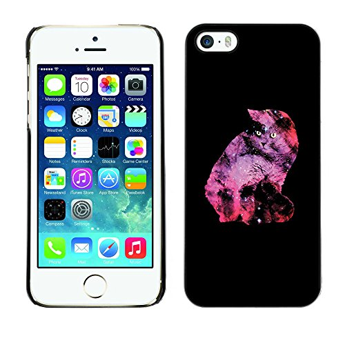 KOKO CASE / Apple Iphone 5 / 5S / étoiles de l'univers chat néon Galaxy Art UFO Alien / Mince Noir plastique couverture Shell Armure Coque Coq Cas Etui Housse Case Cover