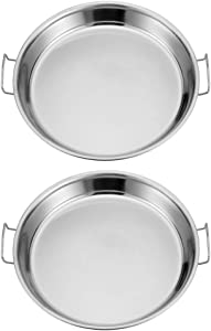 HEMOTON 2pcs Stainless Steel Everyday Pan Cold Noodle Plate Chef Stir Fry Pan Steamer Pot Saucepot Casserole Pot Tray Dish with Handles for Home Kitchen Food Serving