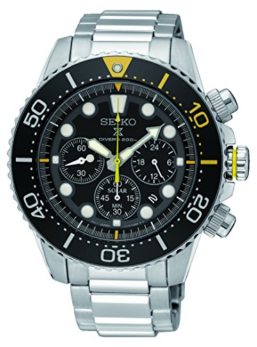 Yellow Mens Chronograph - SEIKO Prospex Sea Diver's 200m Chronograph Solar Sports Watch Yellow SSC613P1