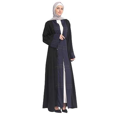 ef582d125cba Amazon.com: Dubai Abaya Muslim Women Kaftan Long Maxi Cocktail Dress Islamic  Jilbab Robe: Clothing