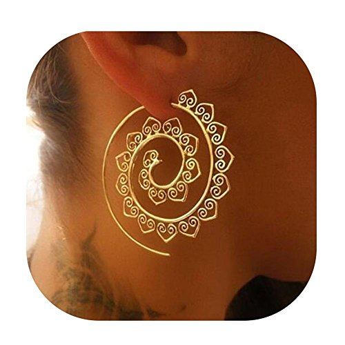 Gold Earrings,Vintage Bohemian Spiral Heart Alloy Dangle Charm Unique Jewelry (Gold)