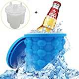 LETIN New Silicone Ice Cube Genie Maker- Trays Molds Ice Bucket Revolutionary Space Saving Ice Cube Maker for Chilling Burbon Whiskey,Cocktail,Beverag (Blue)