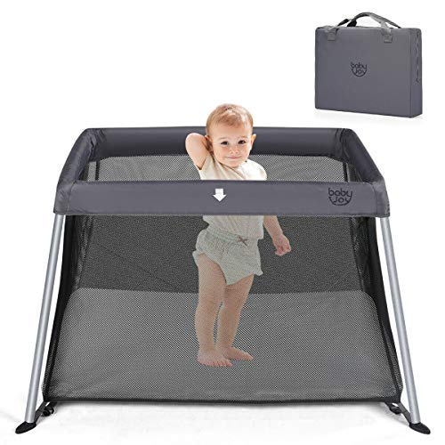 BABY JOY Baby Playpen, Ultra-Light Aluminum Portable Foldable Travel Crib with Comfy Mattress & Oxford Carry Bag, Dark Gray