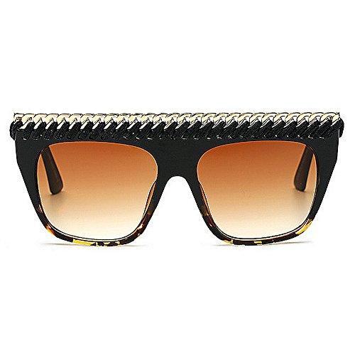 gafas al para decoración Gafas sol gran de de vacaciones de las UV las de Retro la Gran de de cadena tamaño de mujeres libre estilo protección de verano Playa Marrón de sol la aire Personalidad conducción XzSwqz