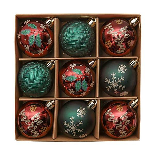 Valery Madelyn Palle di Natale 9 Pezzi 6 cm Palline di Natale, Strada di Campagna Rosso Verde e Oro Infrangibile Ornamenti Palla di Natale Decorazione per Albero di Natale Decor 1 spesavip