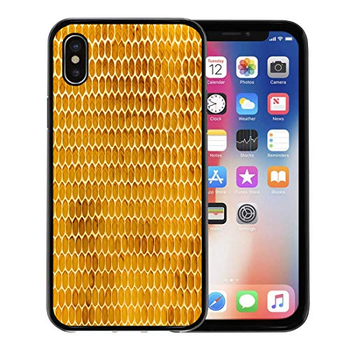 Track Foundation - Semtomn Phone Case for Apple iPhone Xs case,Comb Newly Pulled Honey Bee Honeycomb Beeswax on Plastic Foundation Pollen Tracks Cells for iPhone X Case,Rubber Border Protective Case,Black