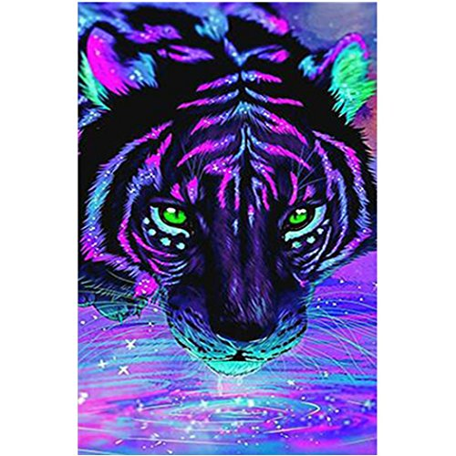 Cinhent Diamond Painting, 5D Embroidery DIY Cross Stitch, Red with Black Rose, Abstraction of Cartoon Colorful Tiger Animal, Magical World, 25 x 40CM, Kitchen Household Decor -