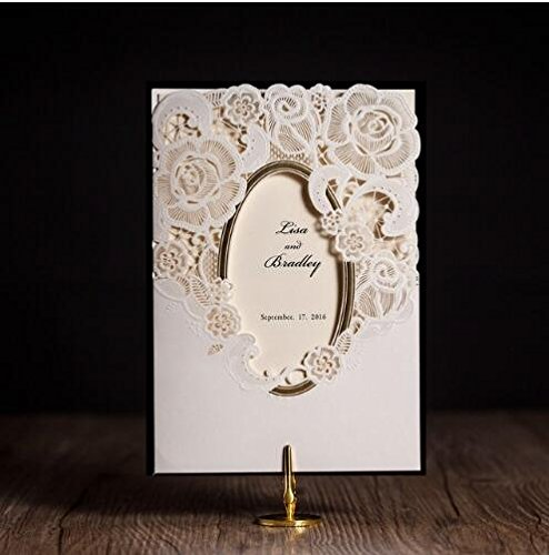 100x WISHMADE white royal wedding invitation card greeting card with laser cut and mirror frame party supplies by Wishmade