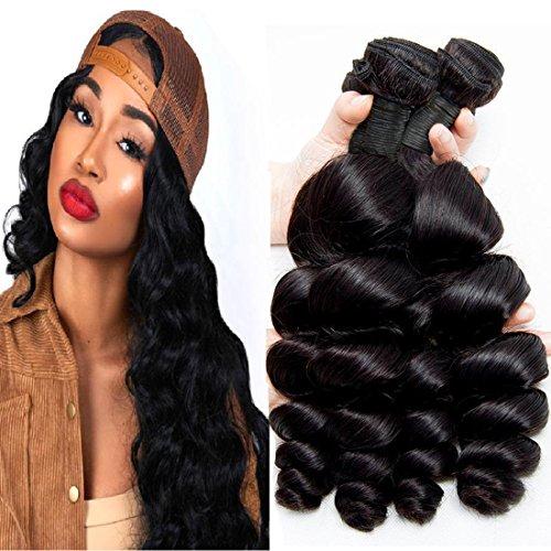 Brazilian Loose Wave Bundles Raw Hair Bundles 100 Percent Human Hair Bundles Unprocessed Virgin Hair 4 Bundles Cheap Remy Bundles Amazon Warehouse Deals Natrual Black 8 10 12 14 Inch
