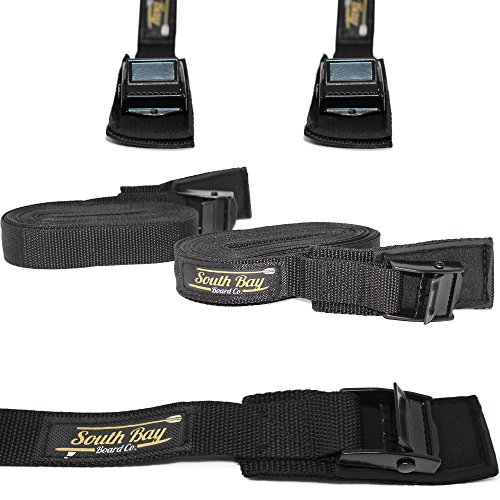 "SBBC - Weather Resistant Tie Down Straps- || SUP & Surfboard Tie-Down Straps || - Scratch Free Stainless Steel Cam Locks + Thick 16' ft x 1"" in. Cargo Straps - Safely Secures Surfboards, SUPs, Kayaks by Gold Coast Surfboards"