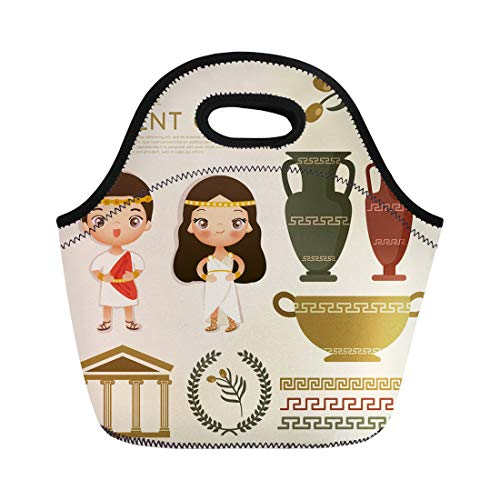 Semtomn Lunch Tote Bag Woman Ancient Greek Traditional Costumes Dress People Roman Beautiful Reusable Neoprene Insulated Thermal Outdoor Picnic Lunchbox for Men Women for $<!--$15.90-->
