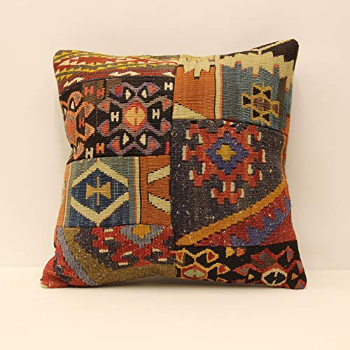 Handmade Kilim Cushion - Patchwork Throw Pillow cover 18x18 (45x45 cm) Retro Pillow Living Room Kilim pillow cover Novelty Home Decor Handmade Kilim cushion cover Decorative pillow case boho pillow sofa pillow