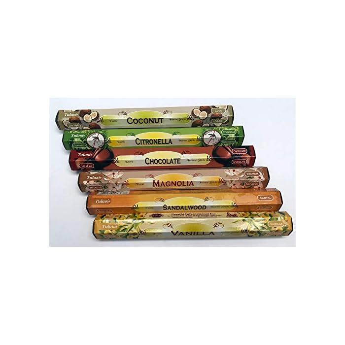 51v1Ef5 T L ✅【SURTIDO INCIENSOS】: Varitas y palitos de incienso Tulasi de larga duración e intenso aroma. Agradable olor, muy fresco. Varitas de Incienso de Aromaterapia. ✅ 【LOTE INCIENSOS】: Cada lote de inciensos contiene 6 fragancias diferentes, 20 varitas de incienso por aroma, total 120 inciensos. ✅【AROMATERAPIA】: Recibirá las siguientes inciensos de aromaterapia EXACTOS: Vainilla, Sándalo, Magnolia, Chocolate, Citronela y Coco.