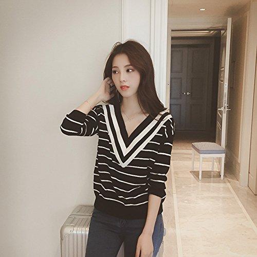 Fashion Women V Neck Knit Long Sleeve Slim Fit Sweater