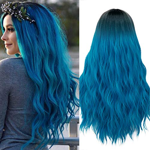 Mildiso Long Blue Wigs for Women Ombre Color Wavy Hair Wig Natural Looking Perfect for Daily Party Cosply 052B]()