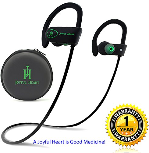 Joyful Heart JH-800 Waterproof Noise Cancelling Wireless Bluetooth Earbuds Sports Headphones with Mic, Black-Green