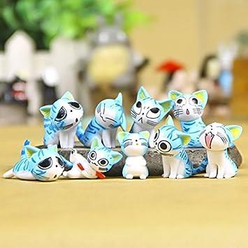 Ochoos 9 Piezas Kawaii Queso Gatos Gatito Estatua miniaturas ...