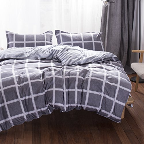 Uozzi Bedding 3 Piece Duvet Cover Set King, Reversible Printing with Brushed Microfiber, Lightweight Soft, Comfortable , Durable (Queen))