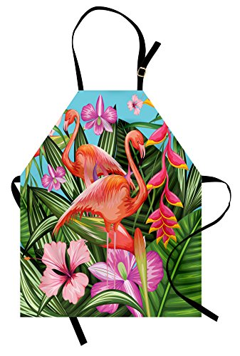 Ambesonne Flamingo Apron, Illustration of Flamingo with Tropical Garden Hibiscus Flower Plant Vintage, Unisex Kitchen Bib Apron with Adjustable Neck for Cooking Baking Gardening, Green Pink