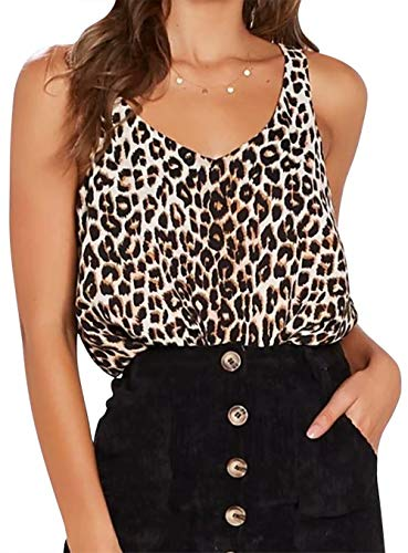 KIDDAD Women's Leopard Print Strap Crop Sexy V-Neck Funny Tank Tops Summer Casual Sleeveless Cami Vest Size S (Black) - Leopard Print Tank