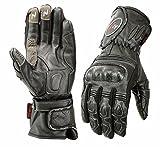 ISLERO Professional Leather Motorbike Motorcycle Gloves Windproof Waterproof Carbon Fiber GEL Knuckle (Large)