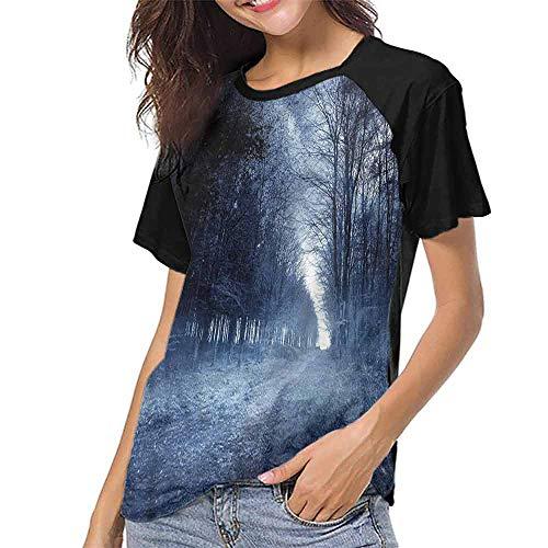 Girls Short Sleeve T-Shirts,Halloween,Ghostly Haunted Forest S-XXL Custom T-Shirt Fashion Style ()