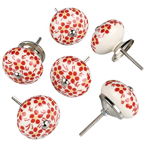 - uxcell 6 Pieces Vintage Shabby Knobs White Hand Painted Ceramic Pumpkin Cupboard Wardrobe Cabinet Drawer Door Handles Pulls Knob, Orange Flower