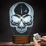 3D Horror Skull Head Night Light Desk Lamp Art Death Bone Skeleton Color Changing Night Lights Halloween Bedroom Decorative LED Lamp