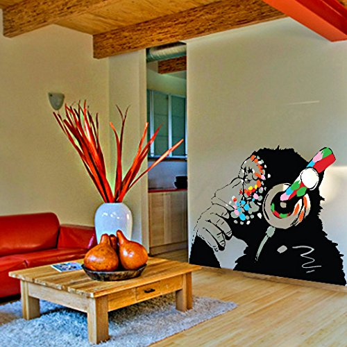 (79'' X 55'') Banksy Vinyl Wall Decal Monkey with Headphones / Colorful Chimp Listening to Music Earphones / Street Art Graffiti Sticker + Free Decal Gift by Slaf Ltd. (Image #1)