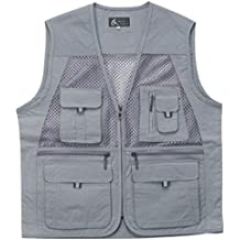 myglory77mall Men's Multi Pockets Fly Fishing Hunting Mesh Vest Outdoor Jacket Wang
