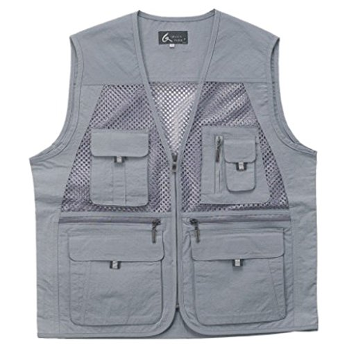 myglory77mall Men's Multi Pockets Fly Fishing Hunting Mesh Vest Outdoor Jacket Wang XL US(3XL tag Asian) Gray