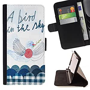 Super Marley Shop - Leather Foilo Wallet Cover Case with Magnetic Closure FOR Apple iPhone 4 4S 4G- A Bird in the sky