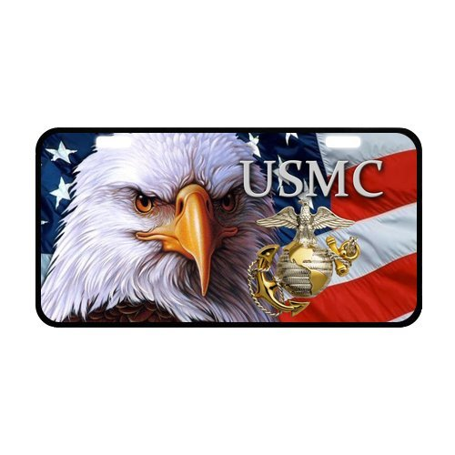 (USMC United States Marine Corps Eagle American Flag Metal Car Tag License Plate for Car 11.8