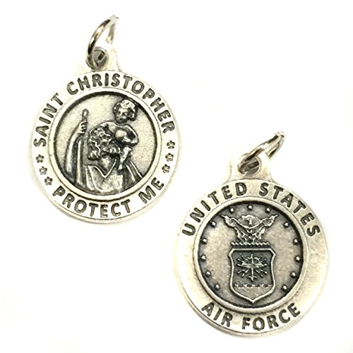 (Saint Christopher United States US Air Force Military Protection Protect Us Italian Medal Pendant Charm Catholic Silver Tone 3/4 Inch )