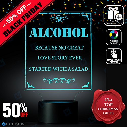 Alcohol Because No Great Love Story Ever Started With A Salad, Best Christmas Gift, Decoration lamp, 7 Color Mode, Awesome gifts (MT272)