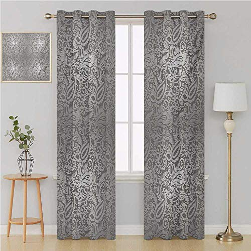 Benmo House Damask grommit Curtain Thermal Insulating Blackout Curtain,Traditional Paisley Pattern Old Fashioned Royal Floral Ornamental Tile Design Window 120 by 84 Inch Dimgray Grey