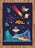 Space Area Rug by Lunarable, Galaxy Cosmos Universe Themed Solar System Stardust Comet Ufo Planetary Illustration, Flat Woven Accent Rug for Living Room Bedroom Dining Room, 5.2 x 7.5 FT, Multicolor