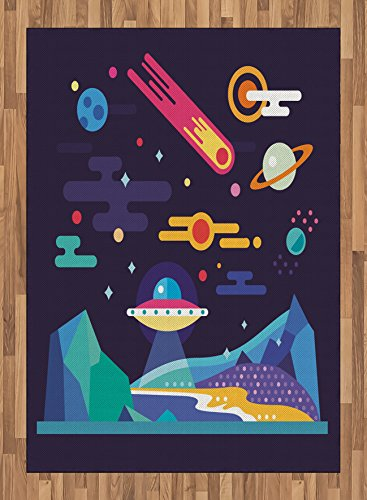 Space Area Rug by Lunarable, Galaxy Cosmos Universe Themed Solar System Stardust Comet Ufo Planetary Illustration, Flat Woven Accent Rug for Living Room Bedroom Dining Room, 5.2 x 7.5 FT, Multicolor by Lunarable