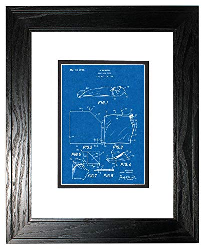 Baby Bath Towel Patent Art Blueprint Print in a Black Pine Wood Frame with a Double Mat (8.5