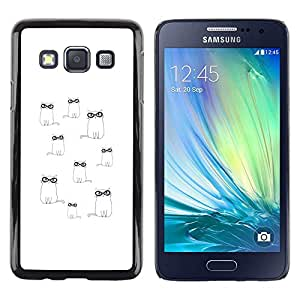 Be Good Phone Accessory // Dura Cáscara cubierta Protectora Caso Carcasa Funda de Protección para Samsung Galaxy A3 SM-A300 // Glasses Cute Minimalist White Drawing