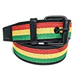 Faddism Unisex Tricolor Canvas Center Leather Belt Rasta- Red Yellow Green L