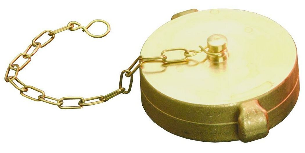 Dixon Valve FC400F Cast Brass Fire Equipment, Cap with Chain and Pin Lug, 4'' NST (NH) Thread