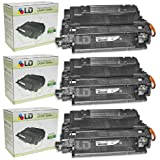 LD Compatible Toner Cartridge Replacement for HP 55X CE255X High Yield (Black, 3-Pack)