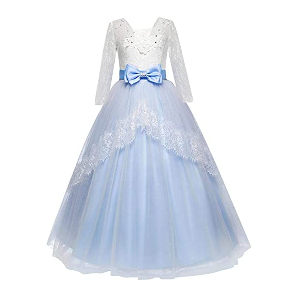 Childplaymate Girls Formal Lace Elegant Long Prom Dress Kids