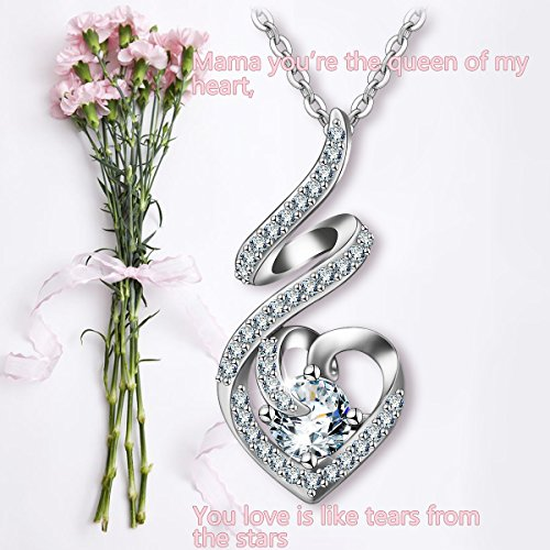 EUDORA Sterling Silver CZ Heart Pendant Necklaces Jewelry for Mother & Daughter,18'' Chain by EUDORA (Image #7)
