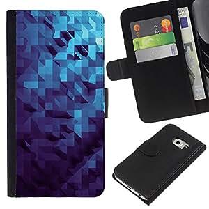 iBinBang / Flip Funda de Cuero Case Cover - 3D Dimensional Pattern Blue - Samsung Galaxy S6 EDGE SM-G925